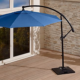 10' Round Sunbrella ® Mediterranean Blue Cantilever Patio Umbrella with Base