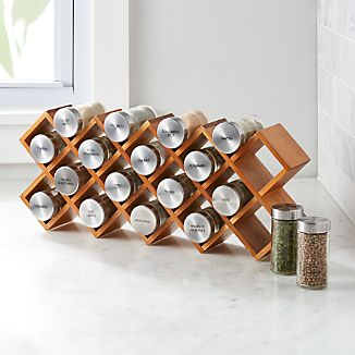 18-Jar Acacia Wood Spice Rack