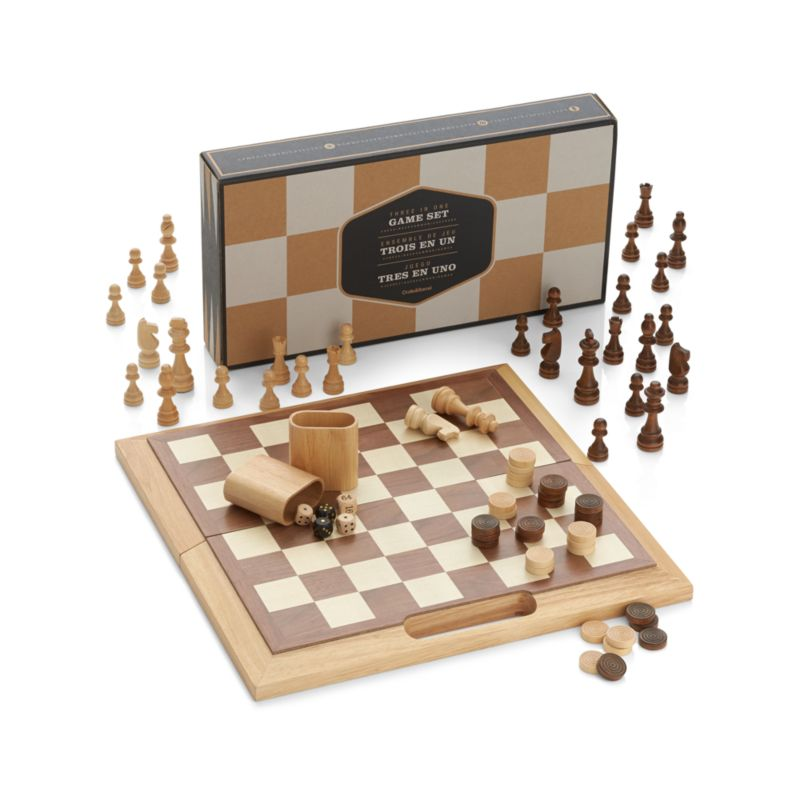 3-in-1 Game Set: Chess Checkers Backgammon