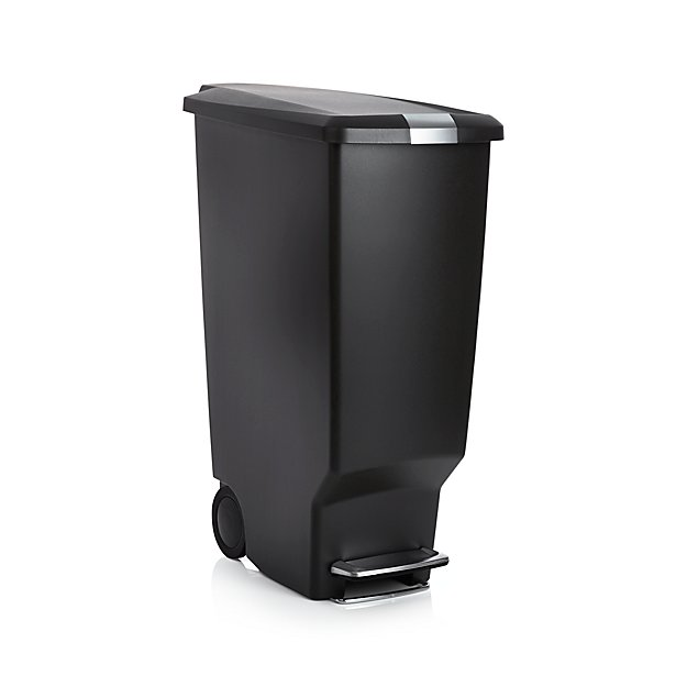 Simplehuman black 40 liter 10 5 gallon slim trash can crate and barrel - Slim garbage cans for kitchen ...