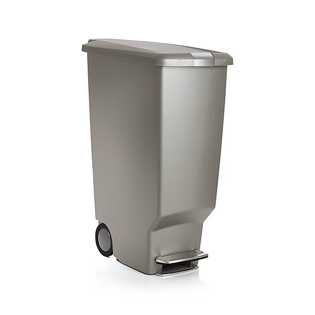 Simplehuman grey 40 liter 10 5 gallon slim trash can crate and barrel - Slim garbage cans for kitchen ...