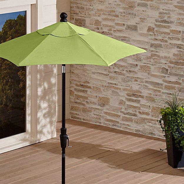 6' Round Sunbrella ® Kiwi Outdoor Umbrella with Tilt Black Frame