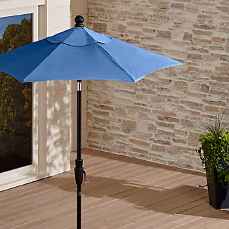 6' Round Sunbrella ® Mediterranean Blue High Dining Patio Umbrella with Tilt Black Frame