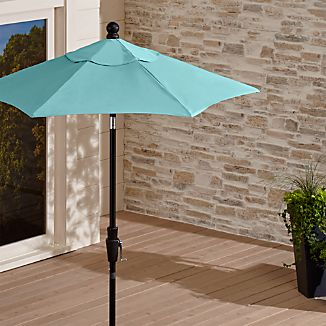 6' Round Sunbrella ® Mineral Blue High Dining Patio Umbrella with Tilt Black Frame