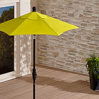 6' Round Sunbrella ® Sulfur High Dining Patio Umbrella with Tilt Black Frame