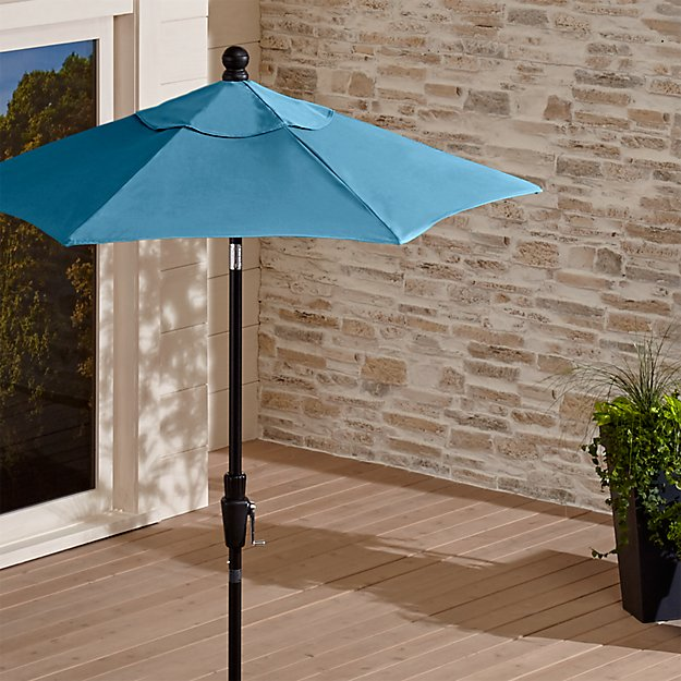 6' Round Sunbrella ® Turkish Tile High Dining Patio Umbrella with Tilt Black Frame