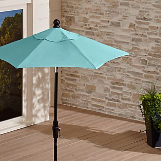 6' Round Sunbrella ® Mineral Blue Patio Umbrella with Tilt Black Frame