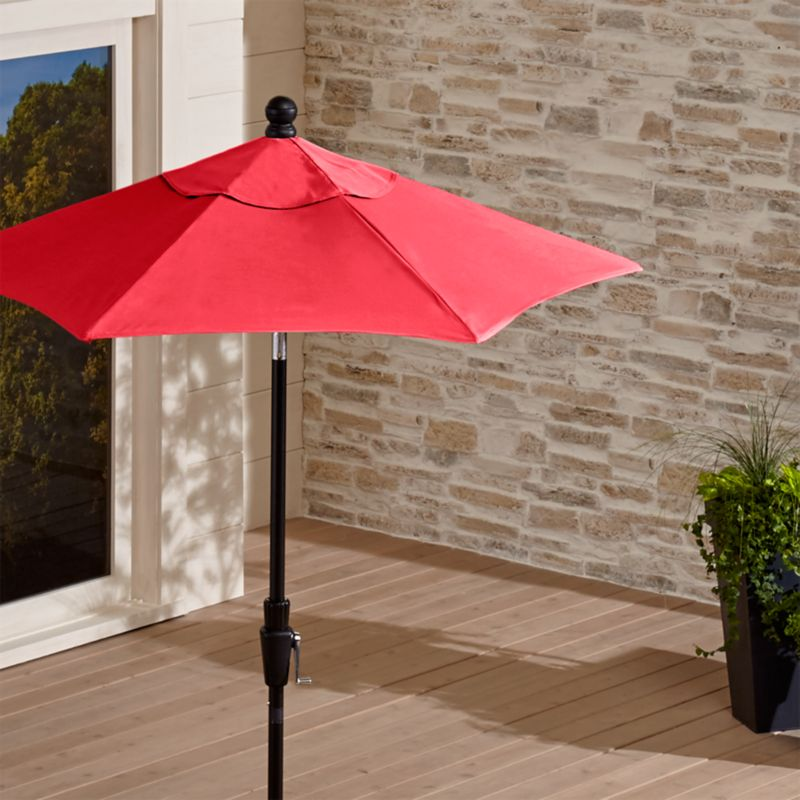 6' Round Sunbrella ® Ribbon Red Patio Umbrella with Tilt Black Frame