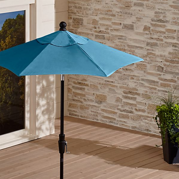 6' Round Sunbrella ® Turkish Tile Patio Umbrella with Tilt Black Frame