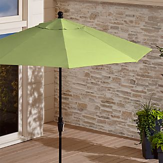 9' Round Sunbrella ® Kiwi Outdoor Umbrella with Tilt Black Frame