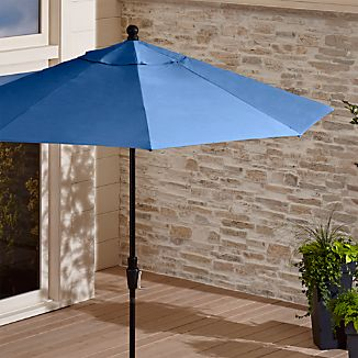 9' Round Sunbrella ® Mediterranean Blue Patio Umbrella with Tilt Black Frame