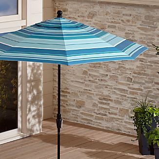 9' Round Sunbrella ® Seaside Striped Outdoor Umbrella with Tilt Black Frame