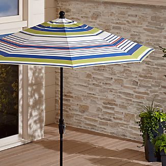 9' Round Sunbrella ® Summer Striped Outdoor Umbrella with Tilt Black Frame