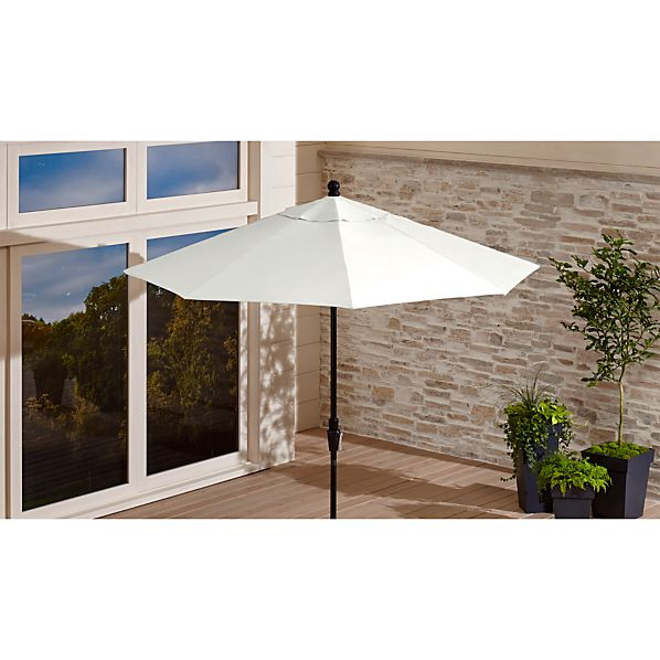 9' Round Sunbrella ® White Sand Patio Umbrella with Tilt Black Frame