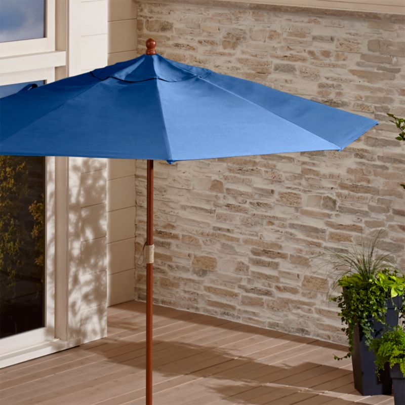 9' Round Sunbrella ® Mediterranean Blue Patio Umbrella with FSC Eucalyptus Frame