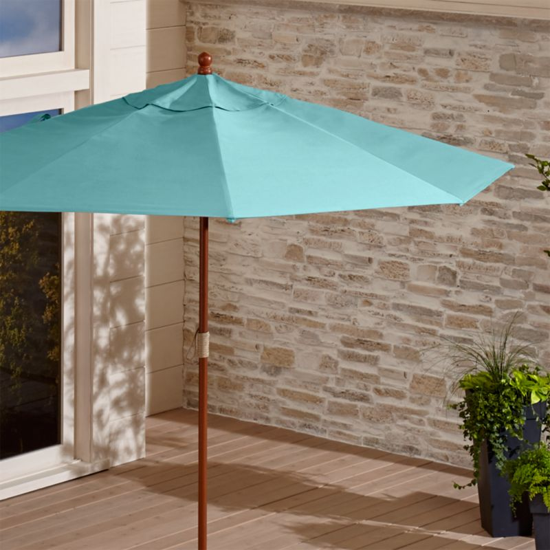 9' Round Sunbrella ® Mineral Blue Patio Umbrella with FSC Eucalyptus Frame