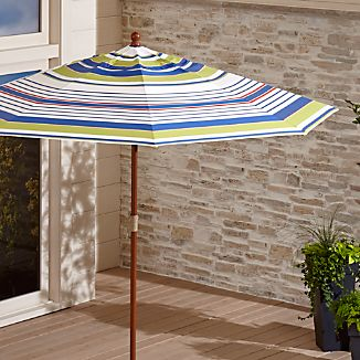 9' Round Sunbrella ® Summer Striped Outdoor Umbrella with FSC Eucalyptus Frame