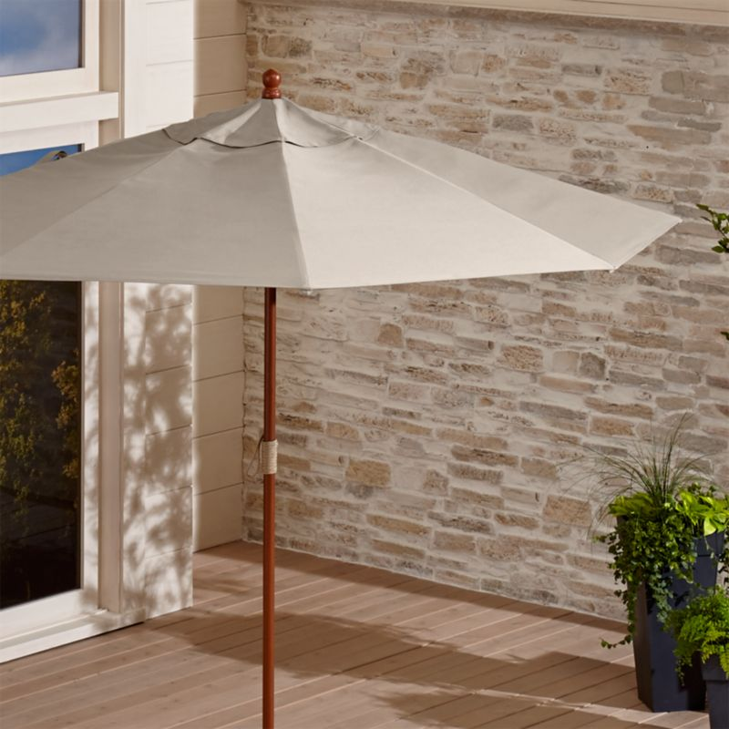 9' Round Sunbrella ® Stone Patio Umbrella with FSC Eucalyptus Frame