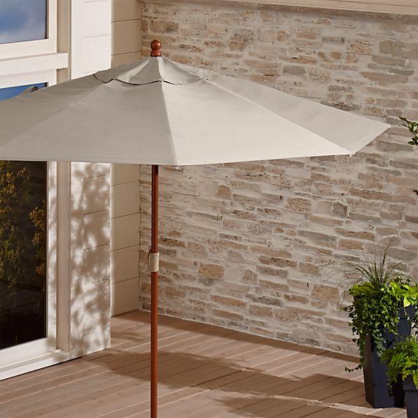 9' Round Sunbrella ® Stone Patio Umbrella with FSC Eucalyptus Frame