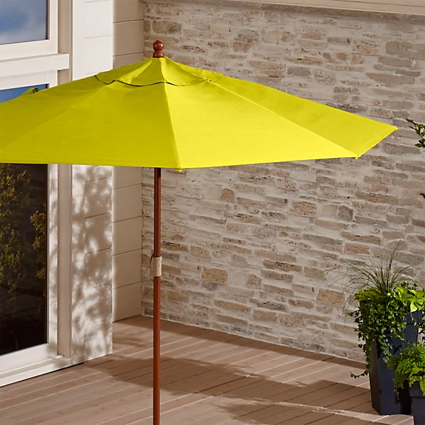 9' Round Sunbrella ® Sulfur Patio Umbrella with FSC Eucalyptus Frame