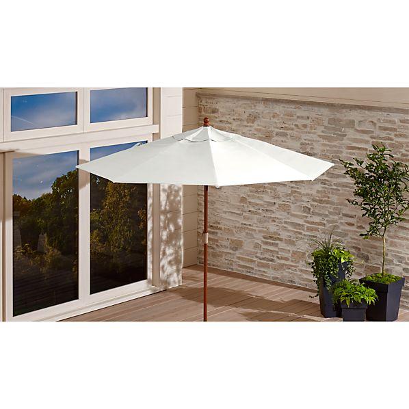 9' Round Sunbrella ® White Sand Patio Umbrella with FSC Eucalyptus Frame