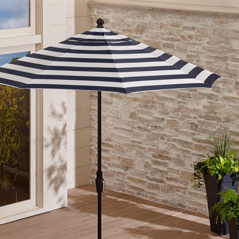 Outdoor Kitchen Umbrella: 9' Round Sunbrella ® Cabana Stripe Navy Patio Umbrella
