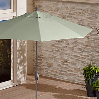 9' Round Sunbrella ® Fern Outdoor Umbrella with Tilt Silver Frame