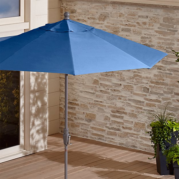9' Round Sunbrella ® Mediterranean Blue Patio Umbrella with Tilt Silver Frame