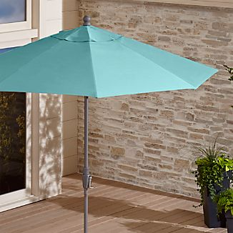 9' Round Sunbrella ® Mineral Blue Patio Umbrella with Tilt Silver Frame