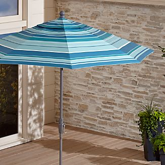 9' Round Sunbrella ® Seaside Striped Outdoor Umbrella with Tilt Silver Frame