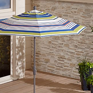 9' Round Sunbrella ® Summer Striped Outdoor Umbrella with Tilt Silver Frame