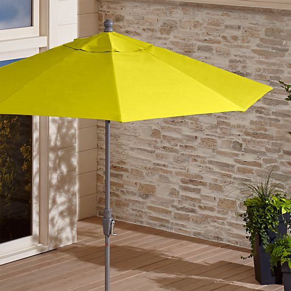 9' Round Sunbrella ® Sulfur Patio Umbrella with Tilt Silver Frame