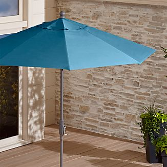 9' Round Sunbrella ® Turkish Tile Patio Umbrella with Tilt Silver Frame
