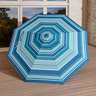 9' Round Sunbrella ® Seaside Striped Umbrella Canopy