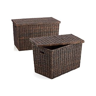 Abaca Wicker Trunk Baskets with Lids