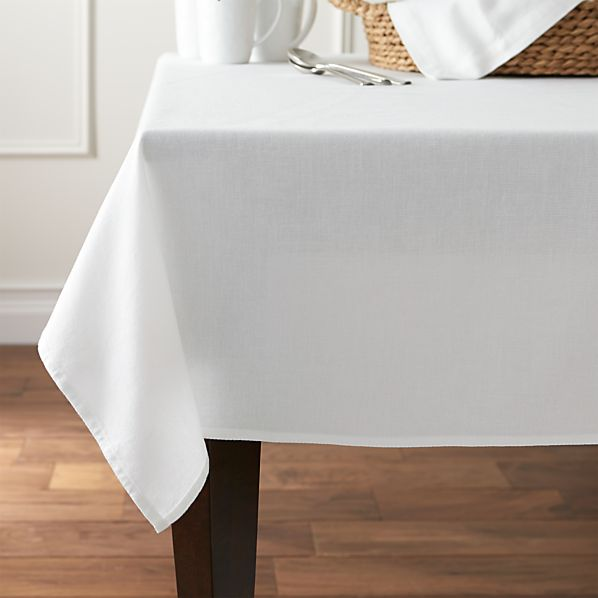 """Abode 60""""x90"""" White Tablecloth"""