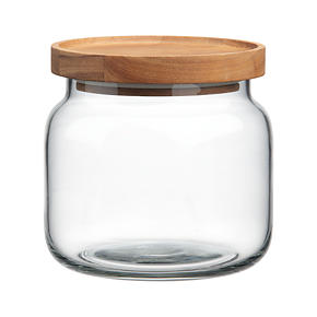 Acacia and Glass Small Canister