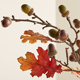 Iconic autumn oak leaves and acorns with touches of natural lichen spread seasonal ambiance in faux or dried arrangements.