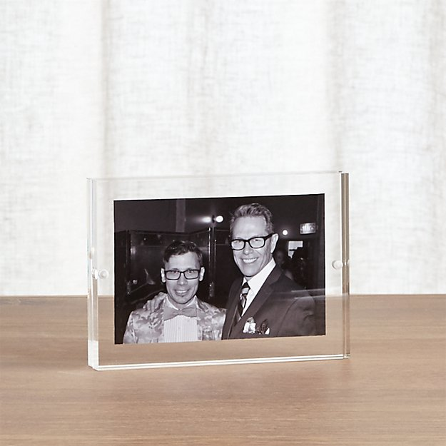 acrylic 4x6 block picture frame crate and barrel. Black Bedroom Furniture Sets. Home Design Ideas