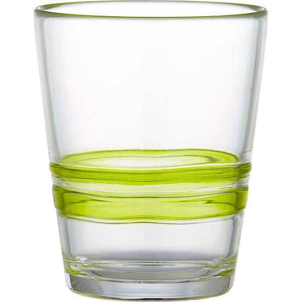 Stripes Green Acrylic Double Old-Fashioned Glass