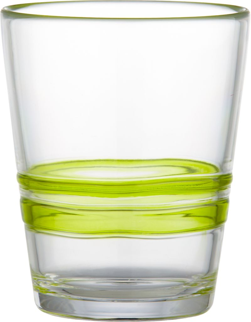 Freeform ripples of clear green embellish casual barware with the look of artisan glass and the durability of acrylic. A carefree choice for holiday gatherings also makes a festive upgrade to the everyday table.<br /><br /><NEWTAG/><ul><li>100% acrylic</li><li>Do not use with hot or boiling water</li><li>Top-rack dishwasher-safe</li><li>Made in China</li></ul>