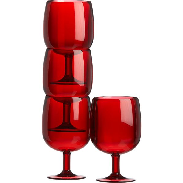 Set of 4 Stacking Red Acrylic Wine Glasses