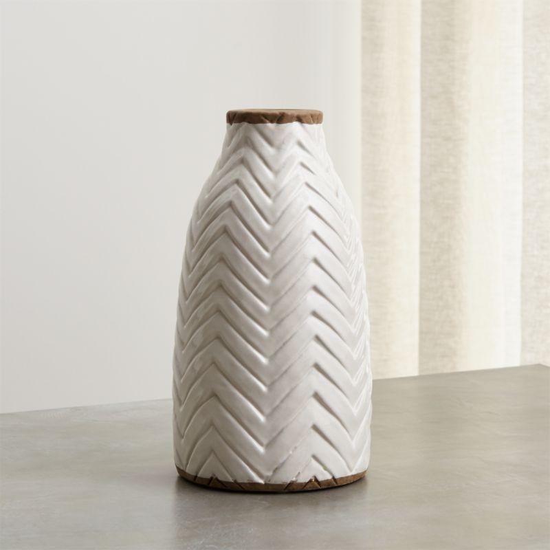 Adra White Chevron Vase Crate And Barrel