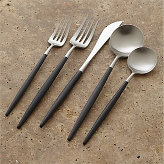 크레이트 앤 배럴 블랙 커트러리 5피스 세트 CrateAndBarrel Aero Black 5-Piece Flatware Place Setting,Black