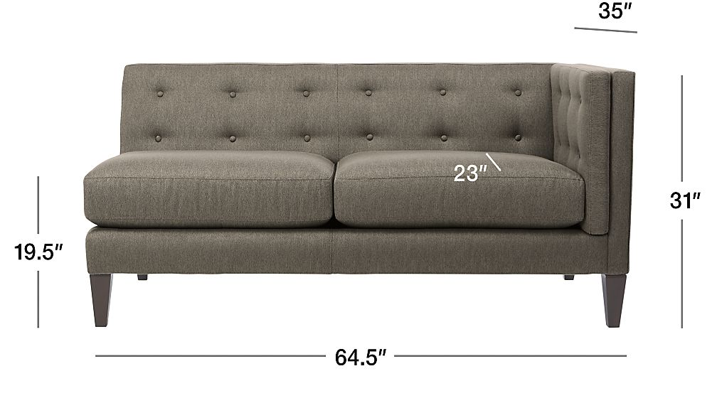 Aidan Right Arm Loveseat Cole Nickel Crate And Barrel