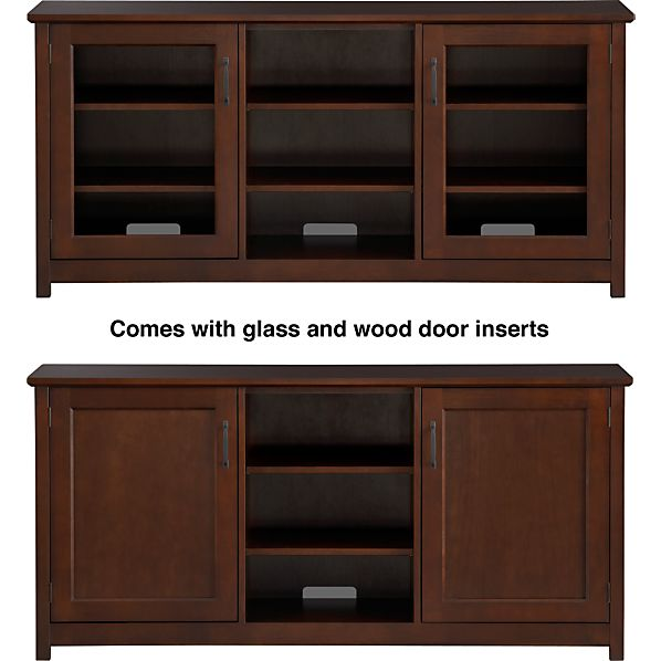"Ainsworth Cognac 64"" Media Console with Wood/Glass Doors"
