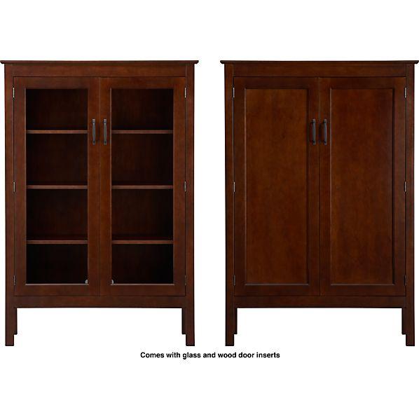 """Ainsworth Cognac 40"""" 2-Door Cabinet with Wood/Glass Doors"""
