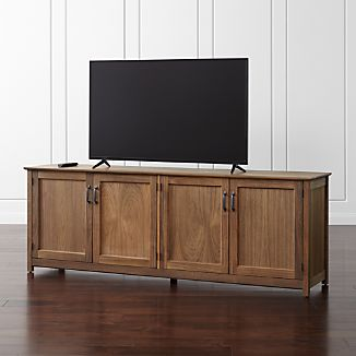 "Ainsworth Walnut 85"" Media Console with Glass/Wood Doors"
