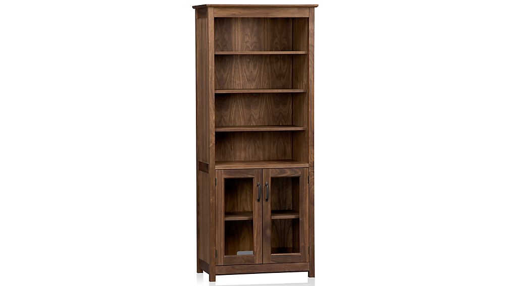 "Ainsworth Walnut 30"" Media Tower with Glass/Wood Doors"