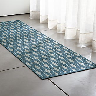 Aldo Blue Indoor-Outdoor 2.5'x8' Rug Runner